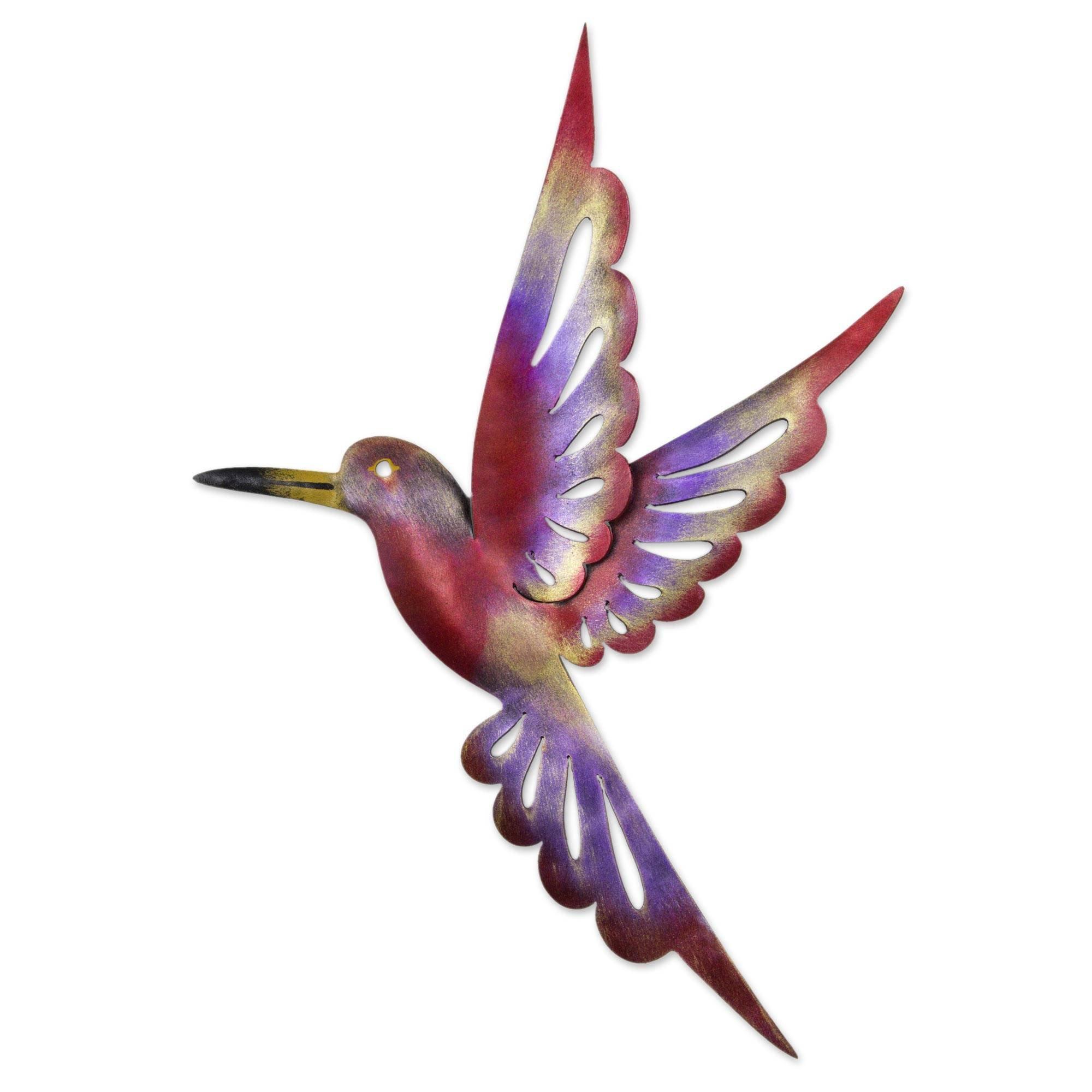 NOVICA Animal Themed Large Iron Metal Wall Mural, Multicolor, Rosy Hummingbird'