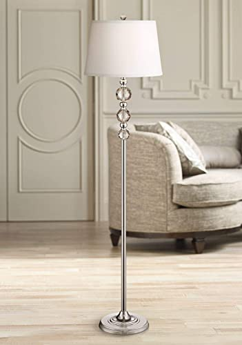 Glimmer Modern Floor Lamp Chrome Clear Faceted Crystal Glass White Fabric Drum Shade