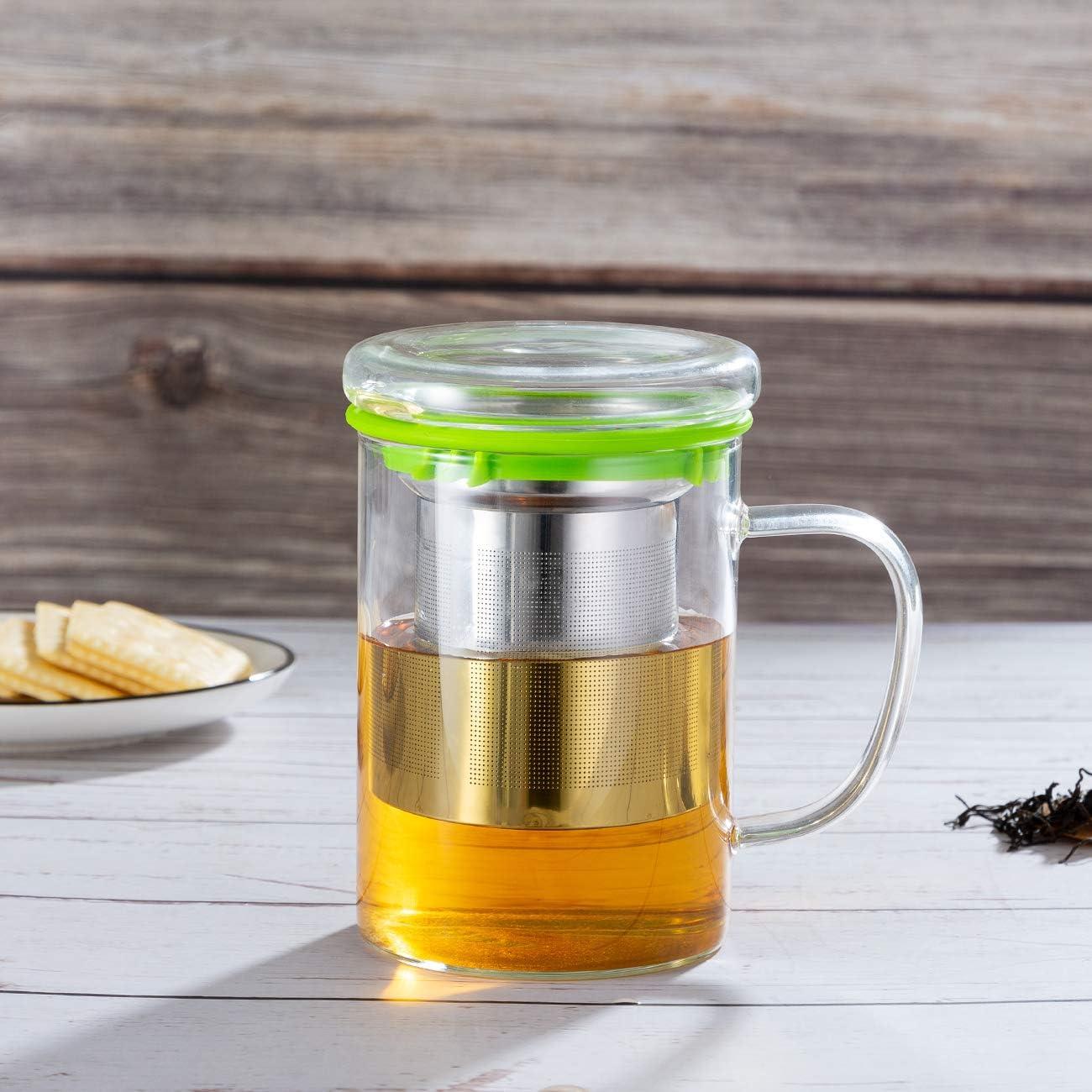SULIVES Glasbecher Teetasse mit Edelstahlfilter und Cover,13.5oz//400ml Gr/ün