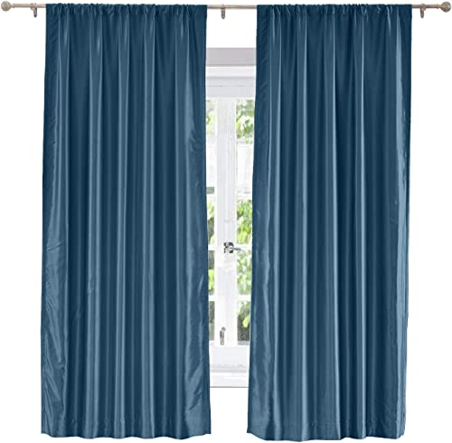 """ChadMade Soundproof Energy Saving Polyester Cotton Silk Solid Curtain Navy 120"""" W x 102"""" L"""