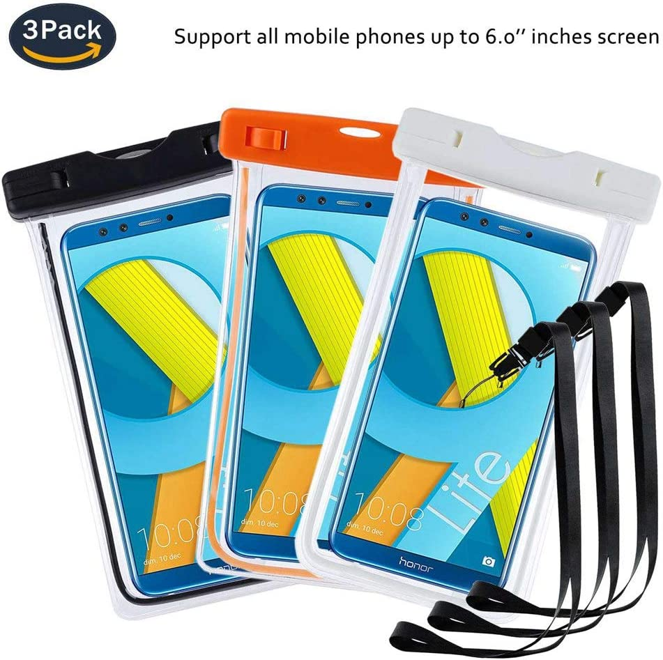 Tactile pour Honor 6X Honor 4C Honor 6A -Noir+Bleu+Orange Certifi/ée IPX8 6 Honor 6X Pro Honor 7 Housse /Étanche Pochette Bo/îtier//T/él/éphone /Étanche Coque pinlu/® 3 Pack