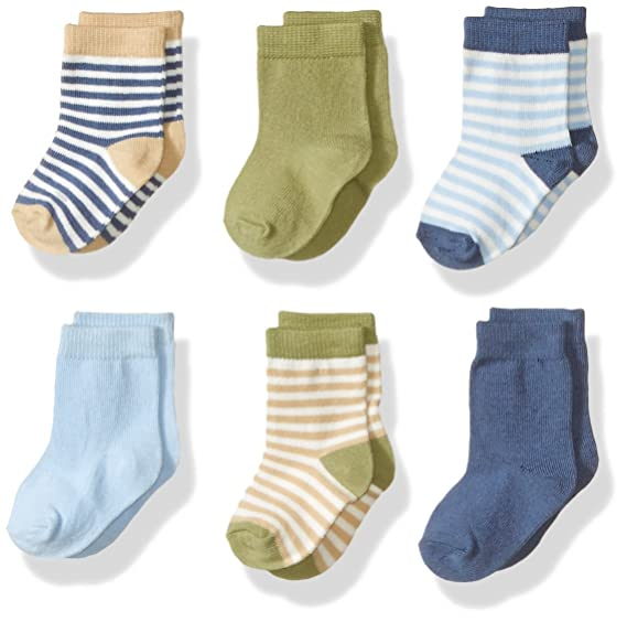 Touched by Nature Baby Organic Cotton Socks, Boy Stripes 6Pk, 6-12 Months