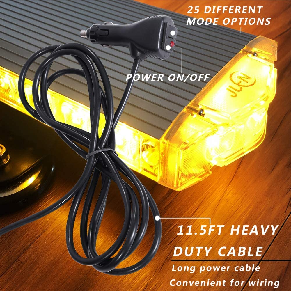 JUEN Mini Emergency Strobe Light Bar 12/ inch 3 Watt Low Profile Magnetic Base Roof Mount LED Emergency Light Bar for All 12V Trucks and Vehicles Amber Emergency Amber Light Bar