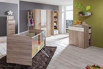 Lifestyle4living Babyzimmer Komplett Set In Weiss Und Braun