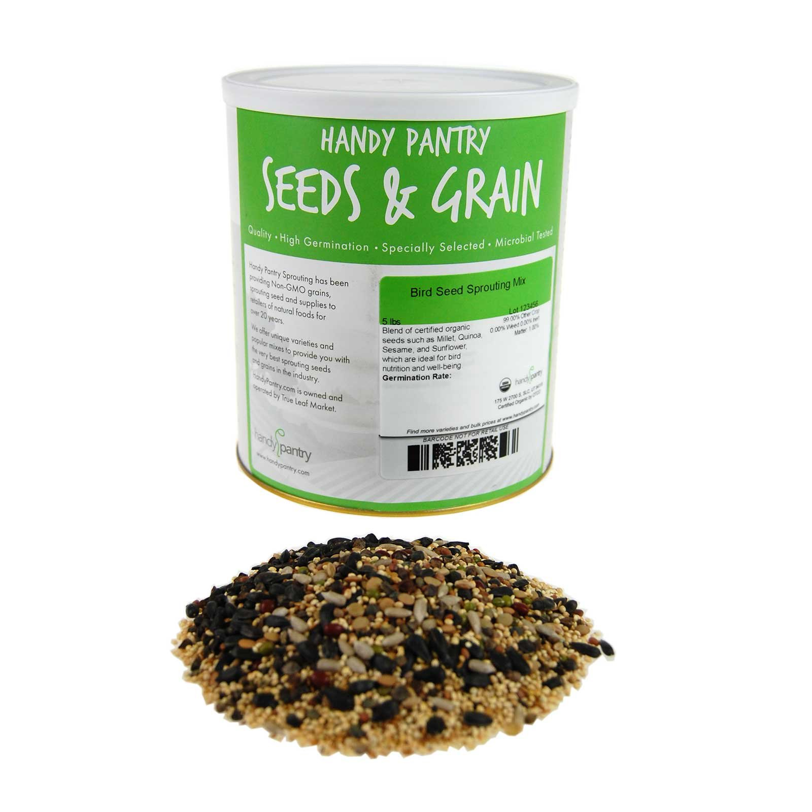 Handy Pantry Organic Birdseed - 5 Lb - Sprouting Bird Seed Mix for Small, Medium & Large Birds- Feed for Songbirds, Parakeets, Parrots, etc by Handy Pantry