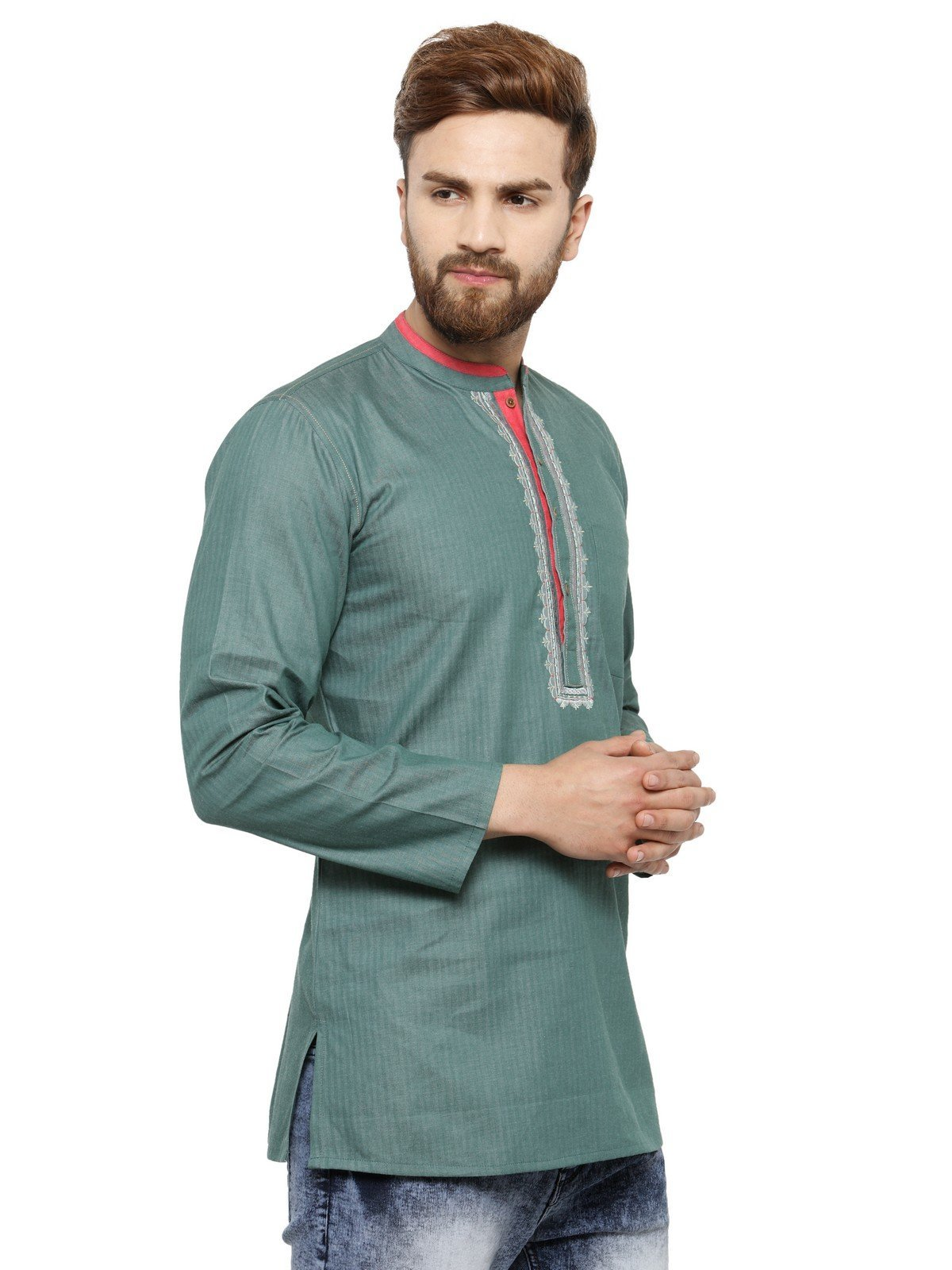 Apparel Men's Cotton Designer Short Kurta 42 Green by ARCH ELEMENTS (Image #3)