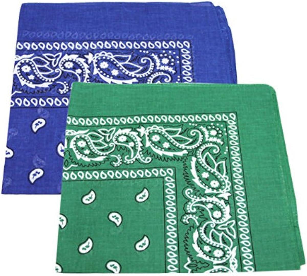 2 x Mens//Womens Paisley Pattern Bandana Head//Neck Scarf 100/% Cotton