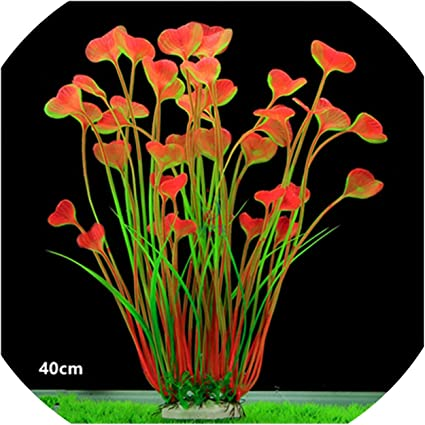 40cm Artificial Green Red Plants Decoration for Fish Tank