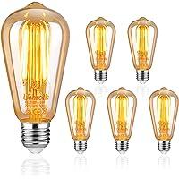 Uchorlls Bombilla de Filamento LED E27, 6W (equivalente a 60W), 700LM, Luz Cálida, No…