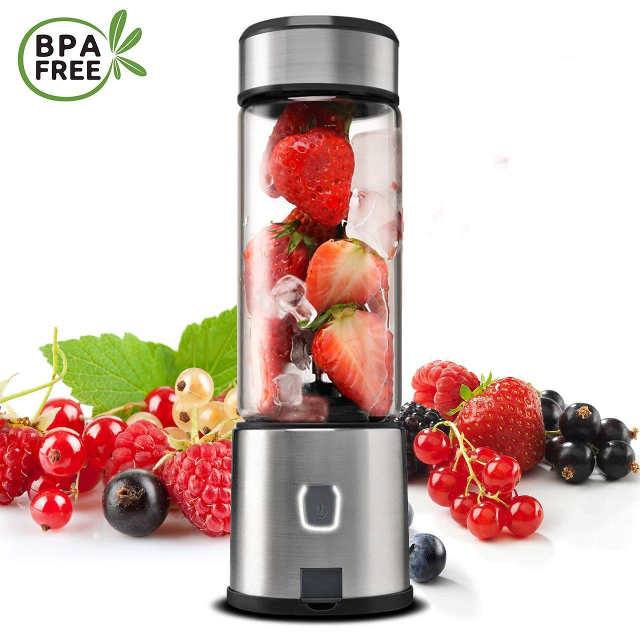Personal Blender, TOPQSC Portable Blender 15oz USB Rechargeable 5200mAh, Smoothie Blender with Durable Glass, Stainless blades 16500rpm, Perfect for Shakes,Smoothies and Baby Food, FDA/ BPA Free (Black) by TOPQSC