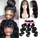 360 Lace Frontal with Bundles Pre Plucked 8A Brazilian Virgin Hair Body Wave 3 Bundles with Closure Bady Hair 100% Unprocessed Human HairExtensions Natural Color(14 16 18+12 360Frontal)