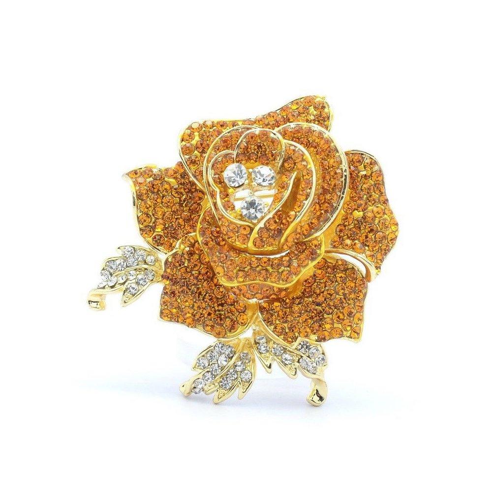 Rhinestone Crystals Wedding Bridal Rose Flower Brooch Pin Broach for Women Jewelry (Yellow)