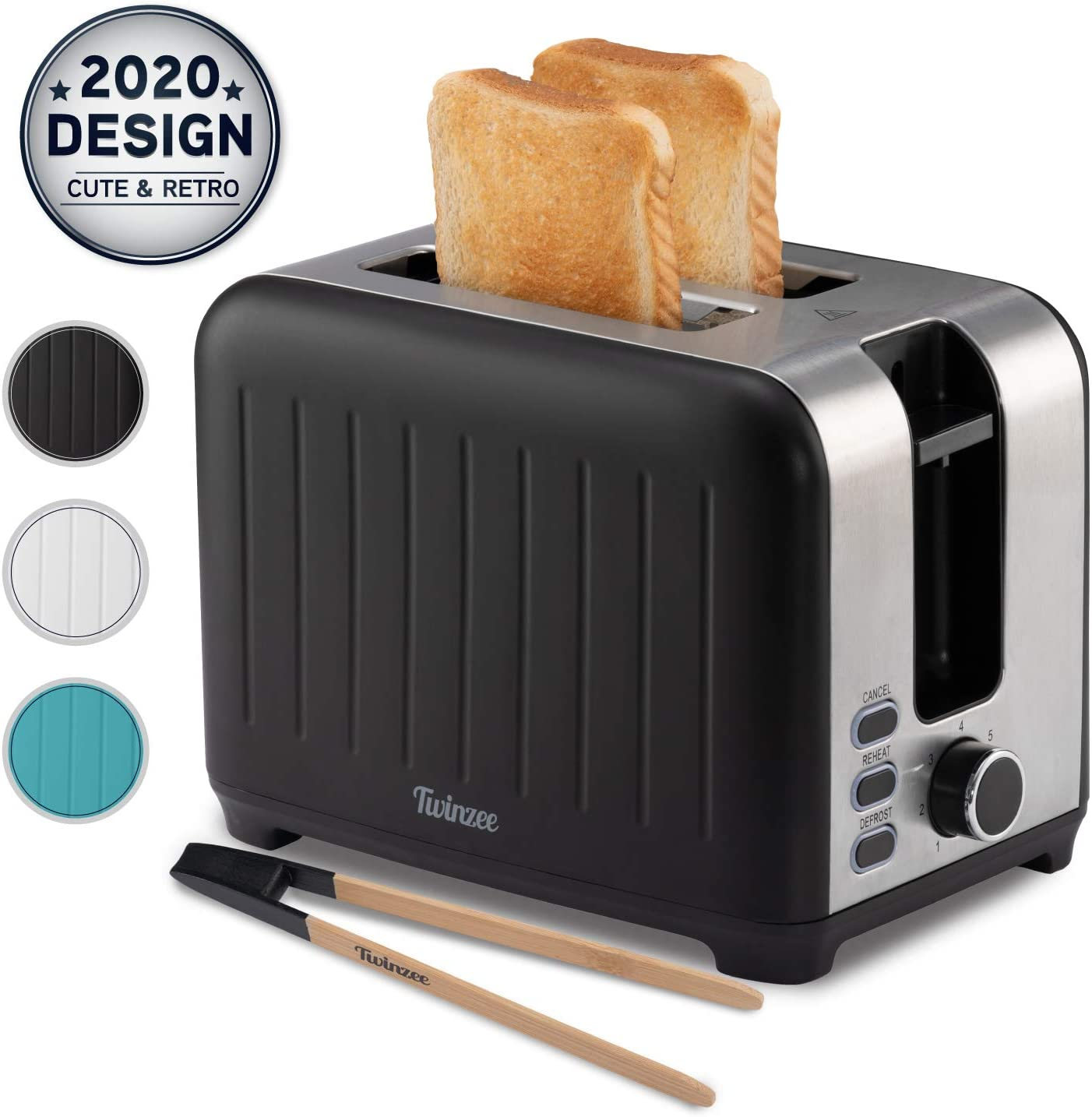 Twinzee Wide Slot Toaster 2 Slice - 3 in 1 Retro Toaster, Matte Black and Stainless Steel - Small Toaster with Free Bamboo Tongs Clips and Crumb Tray - 7 Toasting Settings, 850W Toasters - Vintage Toster