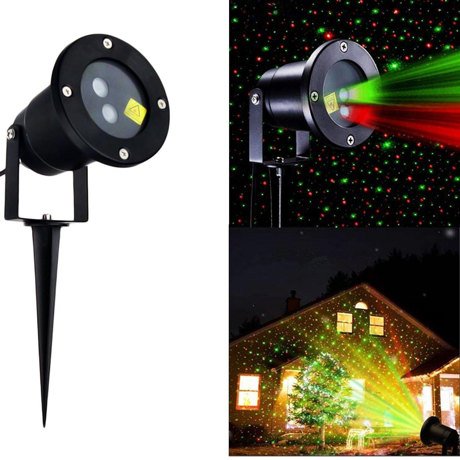 Solario Solar Powered Laser Light Projector w/All-Metal Aluminum Design | Extra-Bright LED Stake Lights | 100% Weather Resistant Outdoor Christmas Lights (Red & Green) (3 Patterns) by Solario (Image #8)