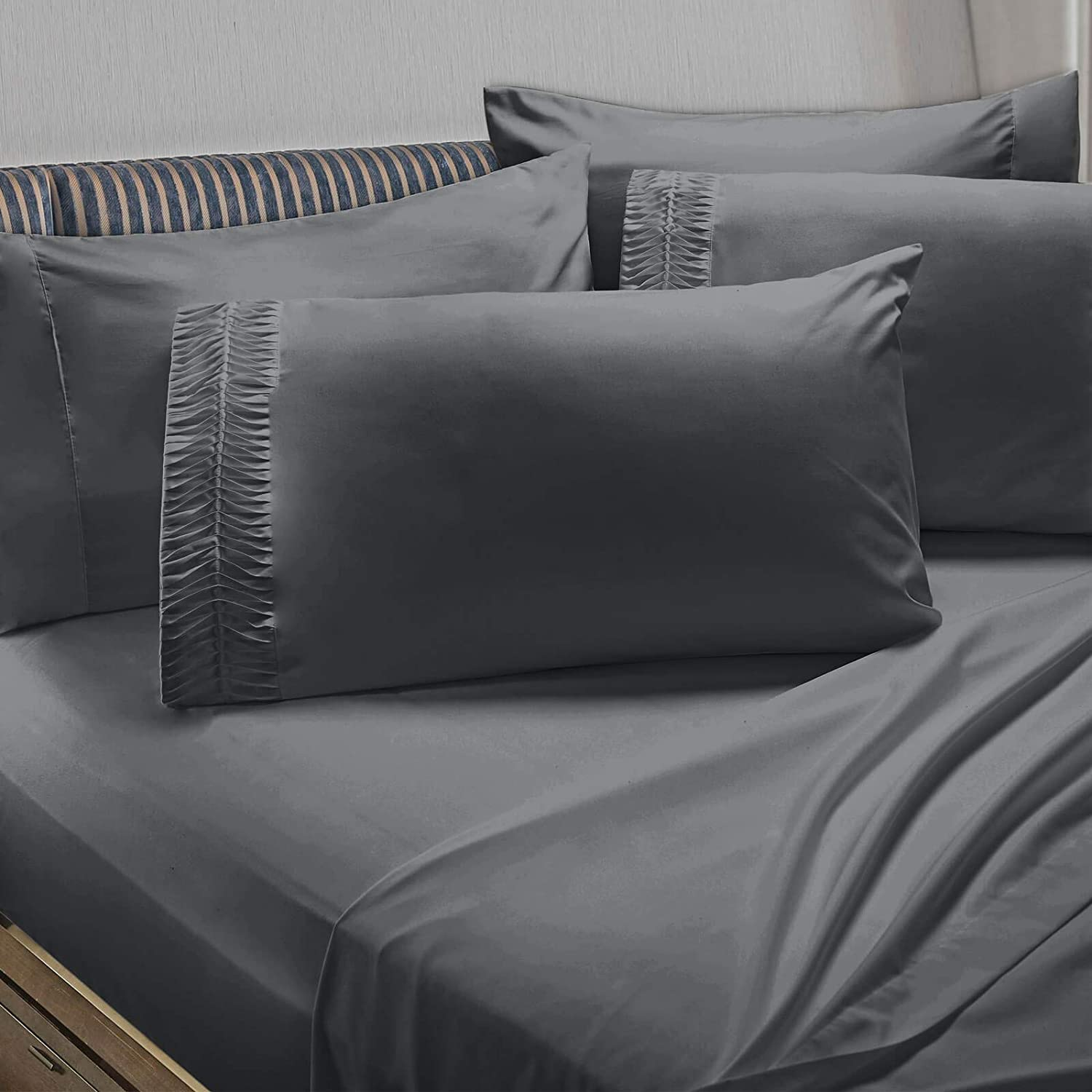 4 PC Sheets Twin Navy Clara Clark 4-Piece 100/% Soft Brushed Microfiber Bedding Set Luxury Pleated Pillowcases Cool /& Breathable