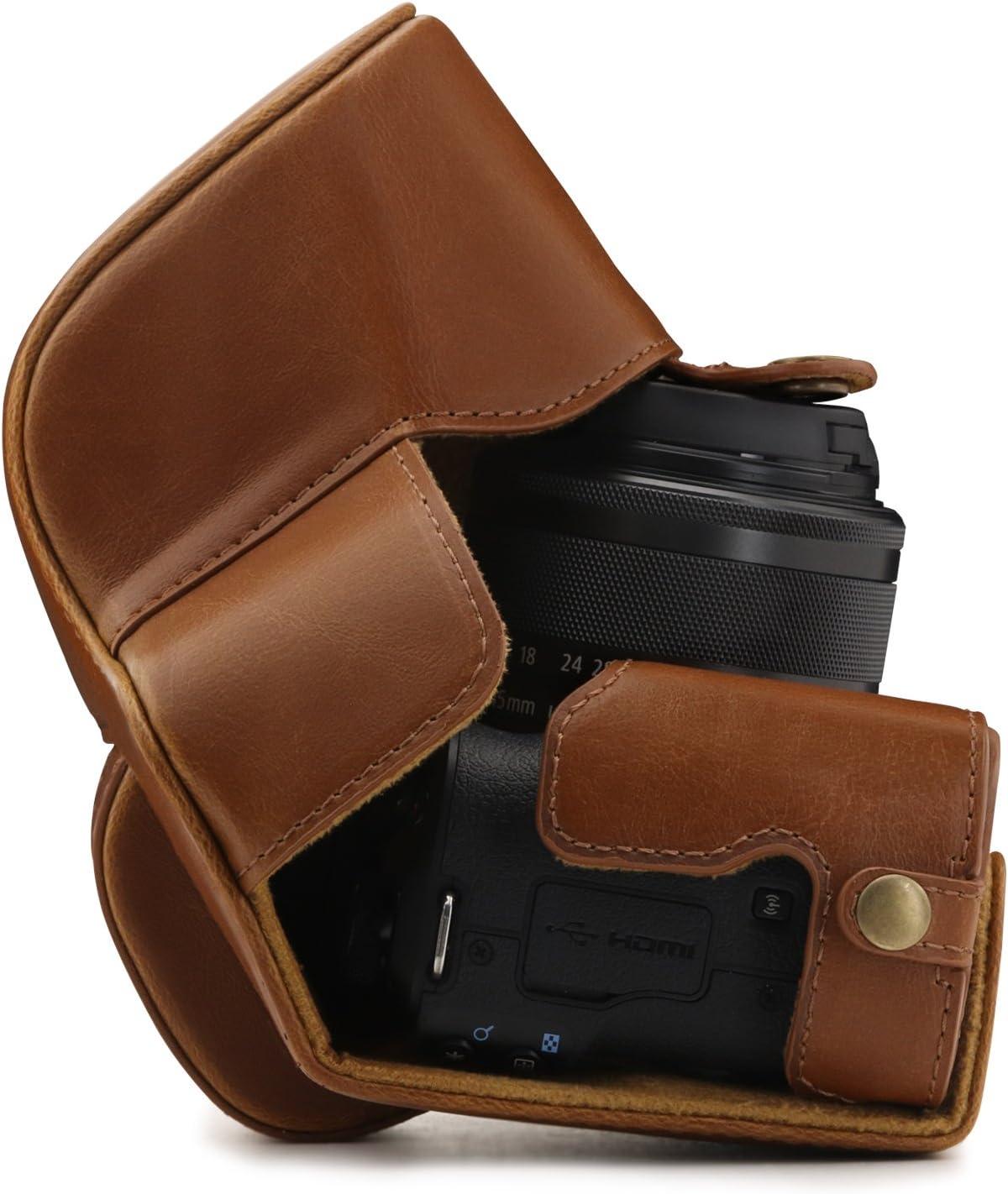 Ever Ready Leder Kamera-Case mit Trageriemen MegaGear Canon EOS M50 Dunkelbraun 15-45mm