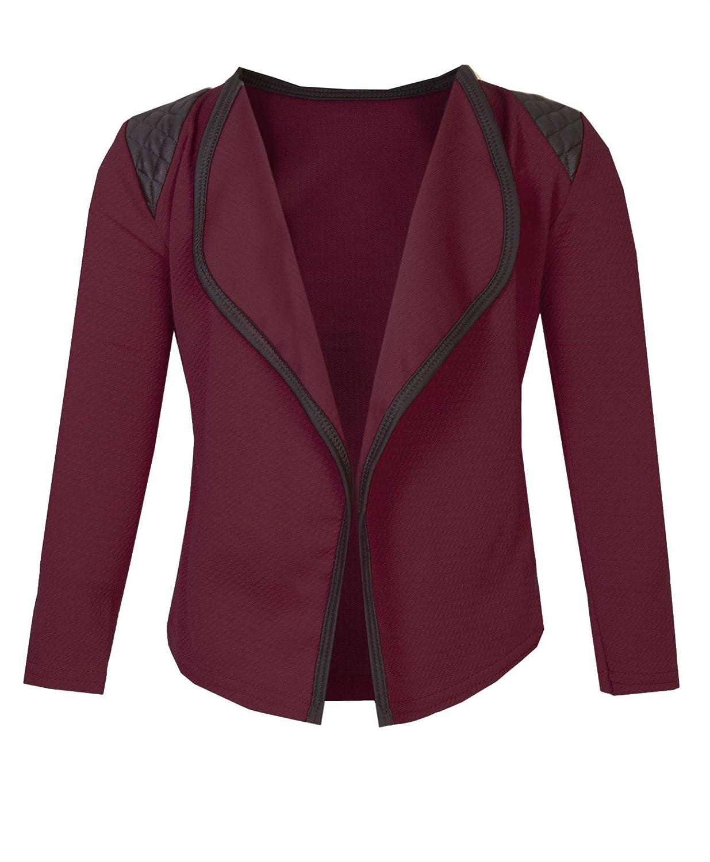 LOTMART Girls Long Sleeve Quilted Shoulder Open Front Jacket Kids Cardigan Top