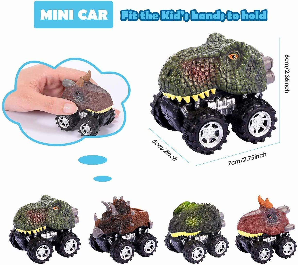 ATOPDREAM Pull Back Dinosaur Cars Best Gifts for Kids