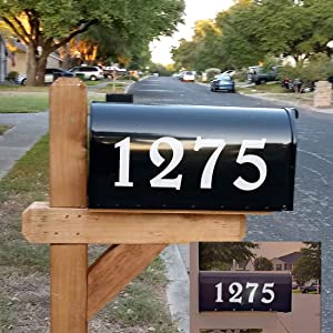 "Diggoo Reflective Mailbox Numbers Sticker Decal Die Cut Elegant Style Vinyl Number 4"" Self Adhesive 2 Sets for Mailbox, Signs, Window, Door, Cars, Trucks, Home, Business, Address Number"