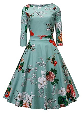 4b64fc5ebf Women's Dress 3/4 Sleeve Calf-Length Retro Floral Vintage Dress Audrey  Hepburn Style