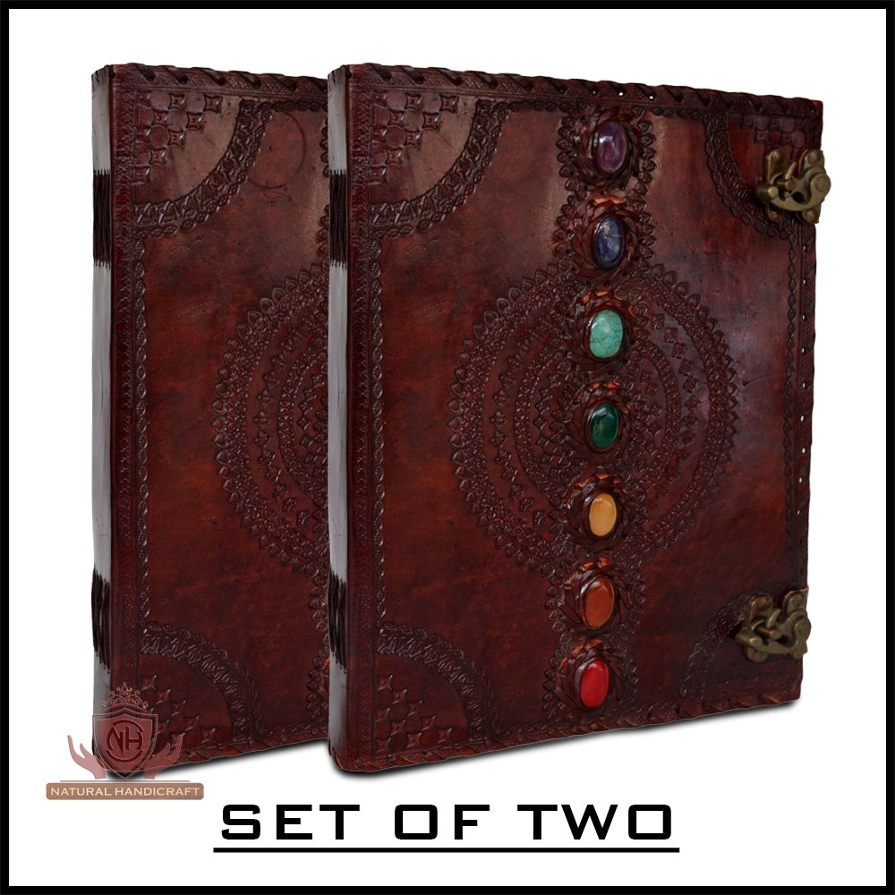 Seven Chakra Medieval Stone Leather Journal Set of Two Notebooks Handbook Embossed Handmade Book of Shadows Notebook Office Diary College Book Poetry Book Sketch Book 10 13 inches
