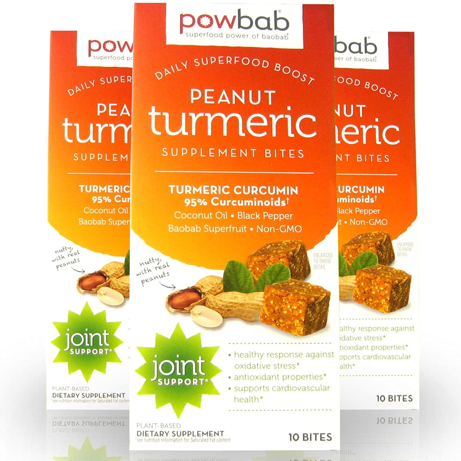 powbab Peanut Turmeric Supplement Bites with Organic Curcumin, Black Pepper, Coconut Oil, Baobab Enhanced Absorption. Natural Joint Relief, Inflammation Antioxidant. Real Superfood, 10Count (3 Pack)