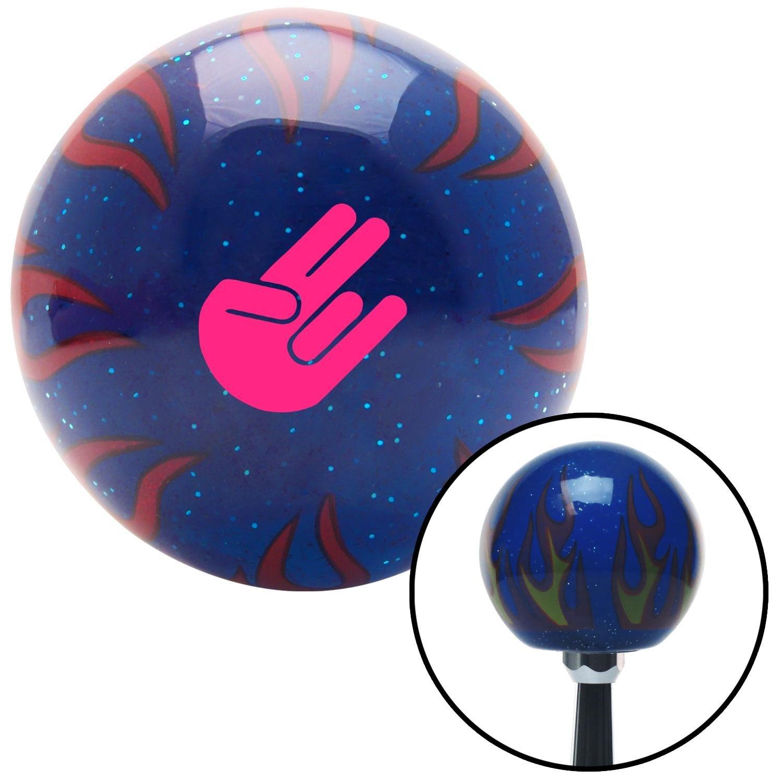 American Shifter 297848 Shift Knob Pink Shocker Blue Flame Metal Flake with M16 x 1.5 Insert