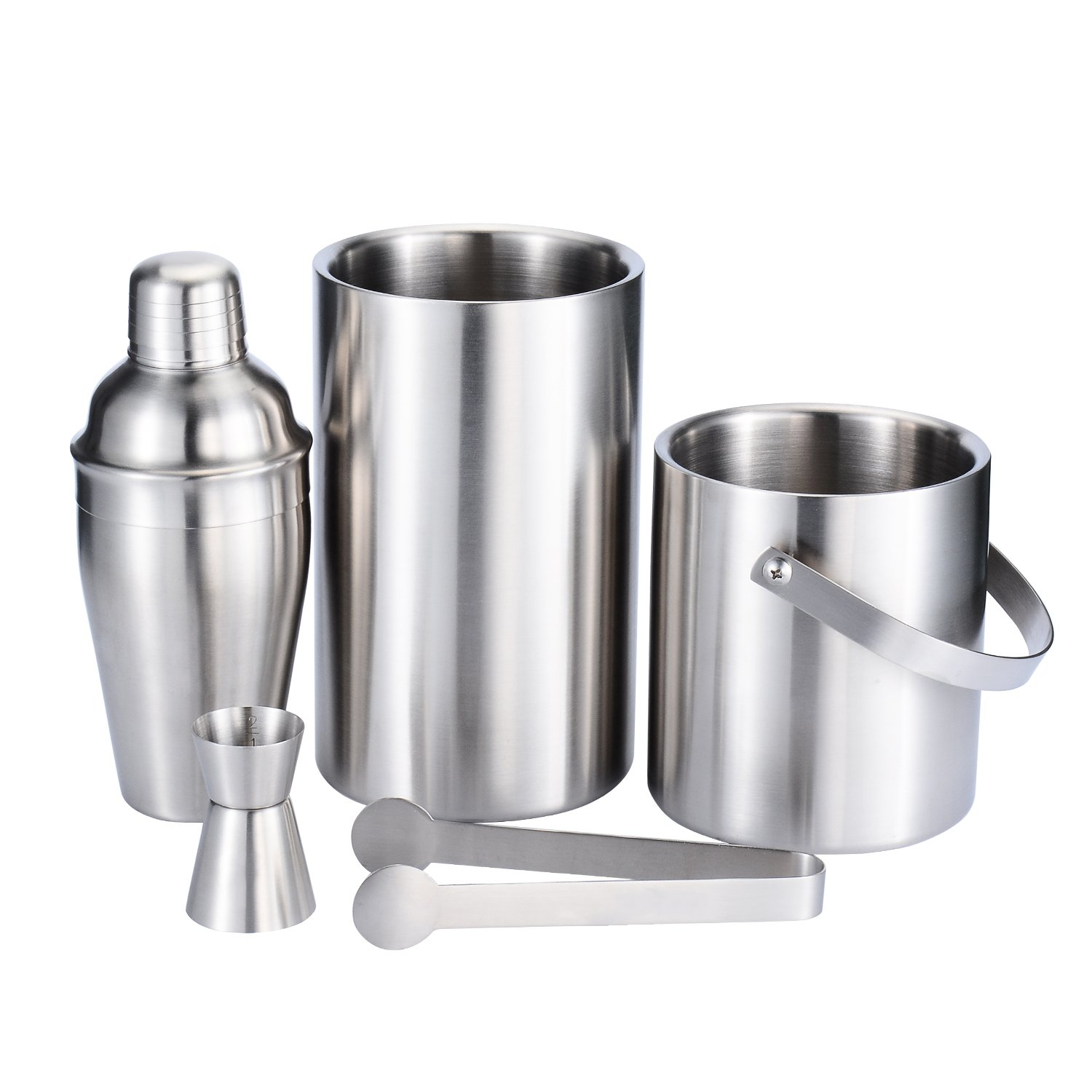 Fortune Candy Stainless Steel Bar Set, 5 Pieces Home Bar Tool Set with 52.8oz Champagne Ice Bucket with Tongs, 38.7oz Double Wall Ice Buckets, 17.6oz Cocktail Shaker, Double Measuring Jiggle 0.7/1.4oz