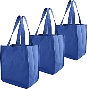 Simple Ecology Organic Cotton Deluxe Reusable Grocery Shopping Bag with Bottle Sleeves - Blue 3 Pack (heavy duty, washable, durable handles, foldable, craft & gift bag, 6 bottle wine bag carrier)