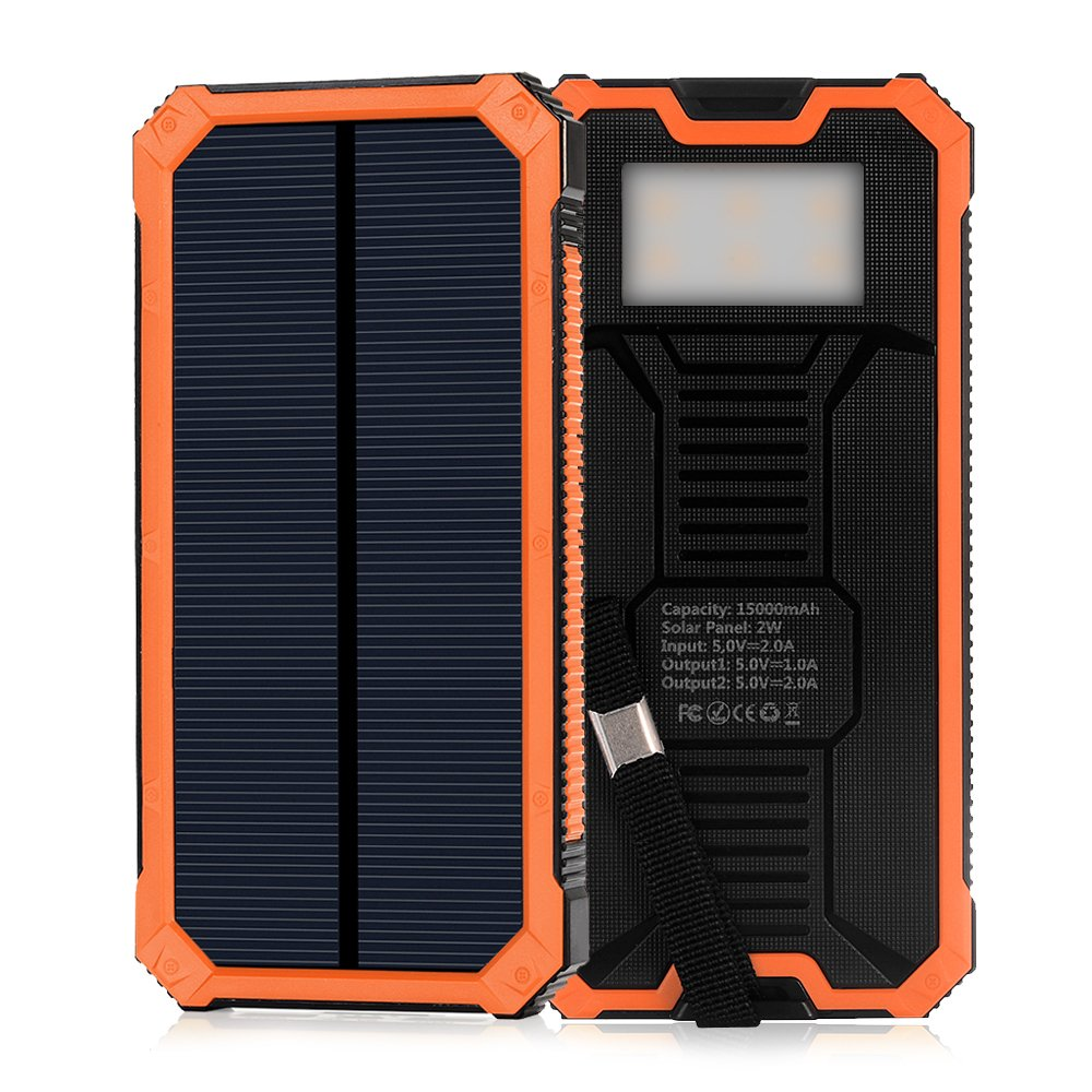 Elzle Solar Charger 15000mah Portable Power Bank Dual Usb Maxtron M8 Tablet Android Backup Battery Pack