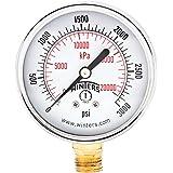 "Winters PEM Series Steel Dual Scale Economical All Purpose Pressure Gauge with Brass Internals, 0-3000 psi/kpa, 2-1/2"" Dial Display, +/-3-2-3% Accuracy, 1/4"" NPT Bottom Mount"