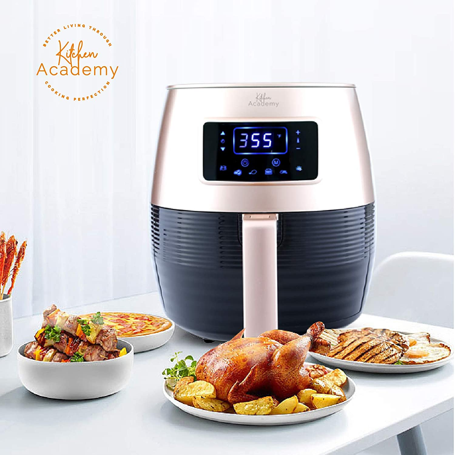 Kitchen Academy Air Fryer (50 Recipes), 5.8 Qt Electric Hot Air Fryers XL Oven Oilless Cooker, 7 Cooking Preset, LED Digital Touchscreen,Nonstick Basket,1 - Year Warranty,ETL/FDA Listed,1700W - Black Gold