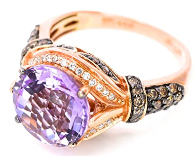 Amazon LeVian 14k Rose Gold Pink Amethyst Chocolate and White
