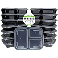Freshware Meal Prep Containers [15 Pack] 3 Compartment with Lids