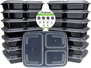 Freshware Contenedor de alimentos de 3 compartimientos - paquete de 15 - Reusable, Seguro para microondas y lavavajillas