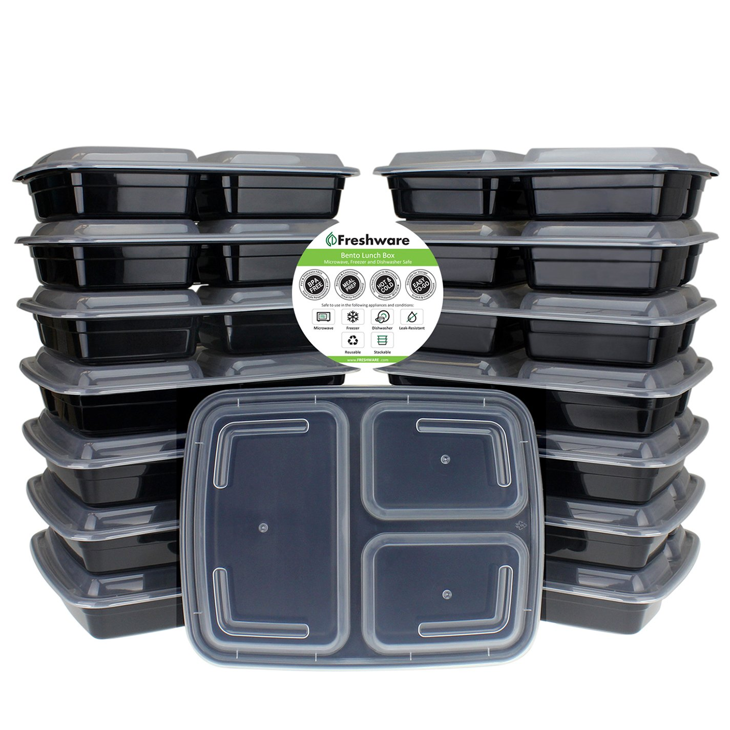 Freshware Meal Prep Containers [21 Pack] 3 Compartment with Lids, Food Storage Containers, Bento Box | BPA Free | Stackable | Microwave/Dishwasher/Freezer Safe, Portion Control, 21 Day Fix (32 oz) YH-3X21A
