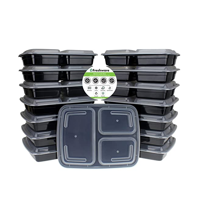 Freshware Meal Prep Containers [15 Pack] 3 Com...