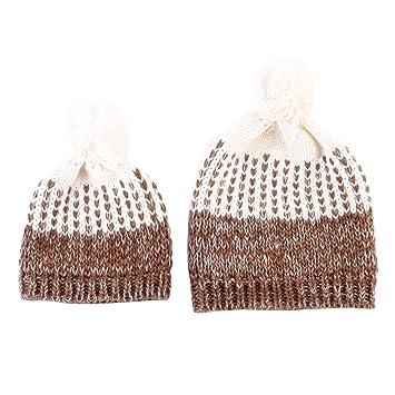 Eizur 2pcs Maman et Bébé Tricoter Chapeau Hiver Garder Chaud Enfants Mère  Crochet Bonnet Casquette- f21f427b288