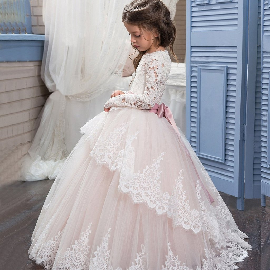 Banfvting Lace Long Sleeves First Communication Dress Kids Birthday Gown With Sash by Banfvting (Image #5)