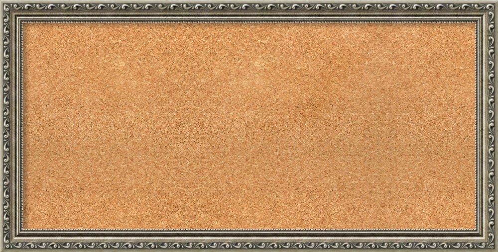 Amanti Art Choose Your Custom Size Natural Cork Parisian Silver Framed Bulletin Boards, 33 x 17