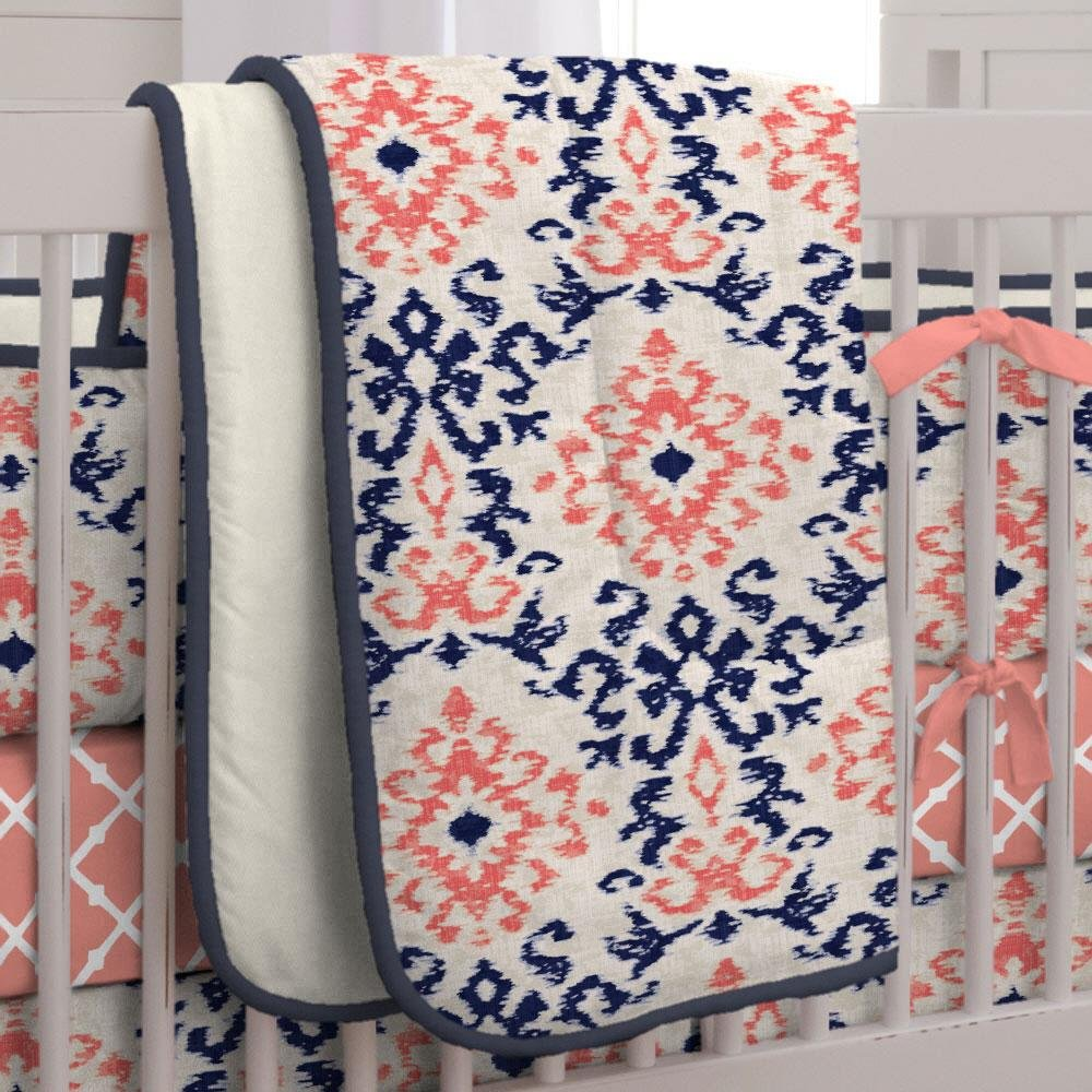 Carousel Designs Navy and Coral Ikat Crib Comforter