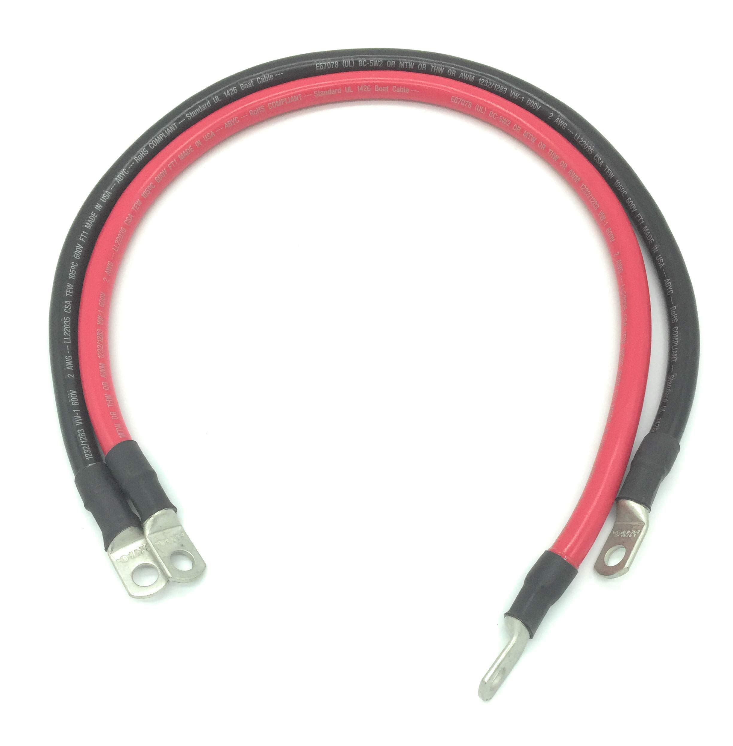IEWC 2 AWG Marine Grade Boat Battery Cables (24) by IEWC
