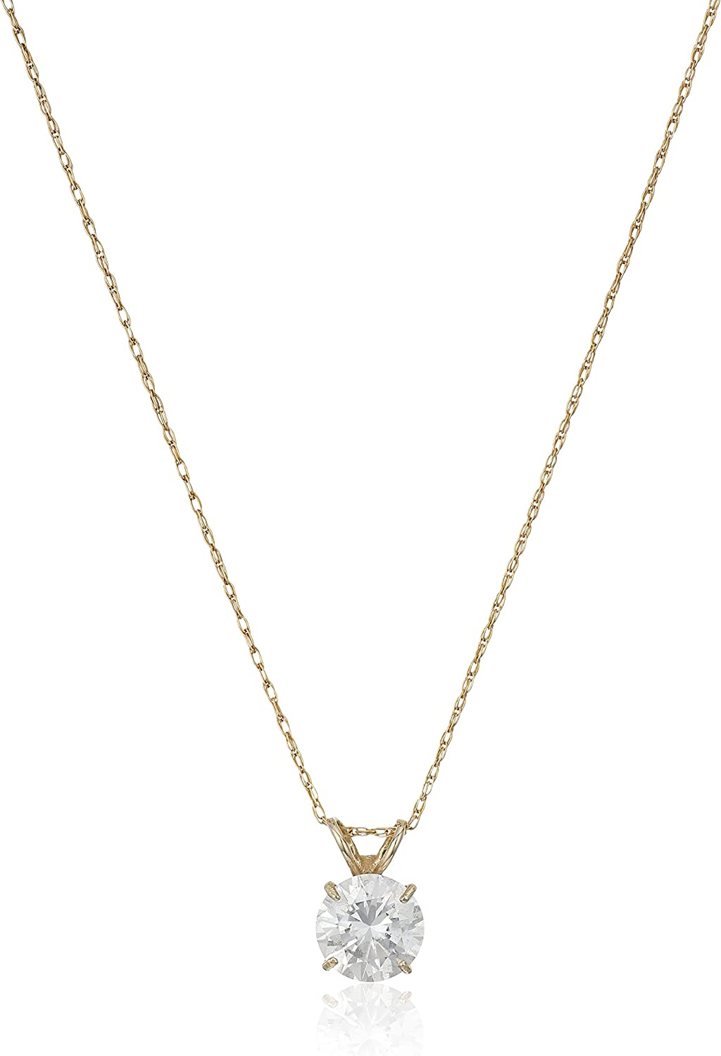 "Jewelili 10kt Gold 6.5mm Swarovski Zirconia Solitaire Pendant Necklace, 18"" Rope Chain"