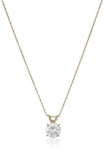 Amazon 10k yellow gold solitaire pendant necklace set with 10k yellow gold solitaire pendant necklace set with round cut swarovski zirconia 1 cttw mozeypictures Image collections