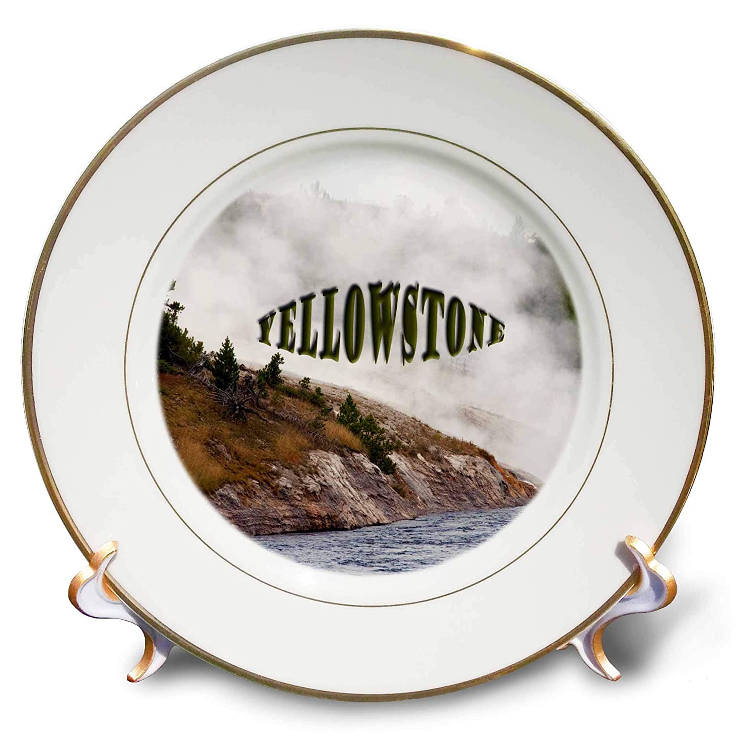 cp/_288618/_1 8 inch Porcelain Plate 3dRose Jos Fauxtographee- Yellowstone Geyser Yellowstone Written ATOP a Geyser in The Park