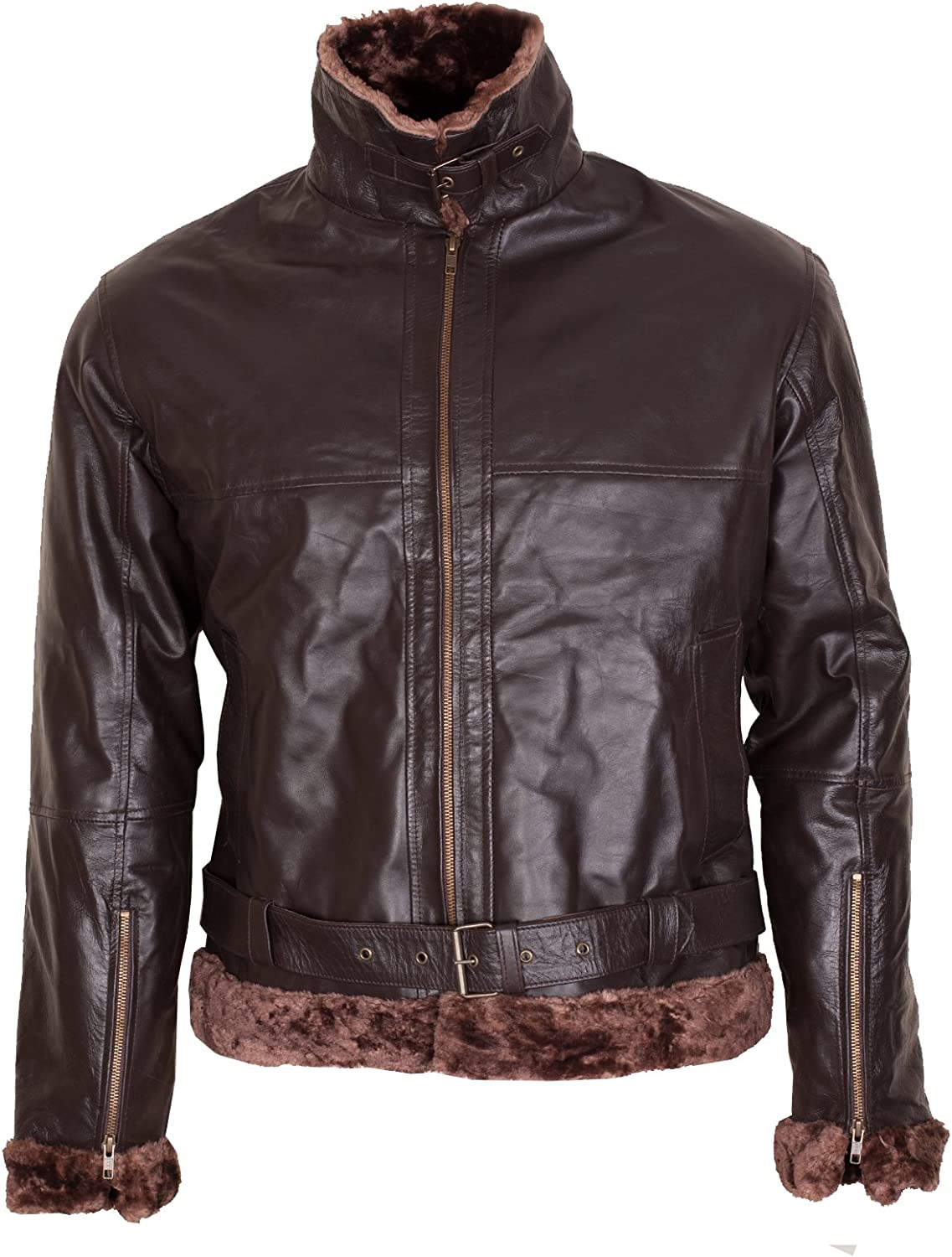 Dark Brown Mens B3 Aviator Faux Fur Shearling Leather Jacket