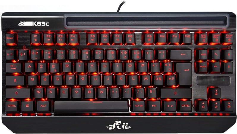 Rii k63 C Teclado mecánico Pro Gaming, retroiluminación, Version française-azerty, 87 Teclas