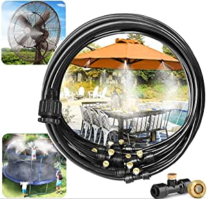 50FT Outdoor Misting Cooling System kit, Misters for Outside Patio, for Fan, Porch, Umbrella, Deck, Canopy,Pool Backyard Misting Systems Mist Hose, Water Misters for Garden,Greenhouse,Yard Waterpark