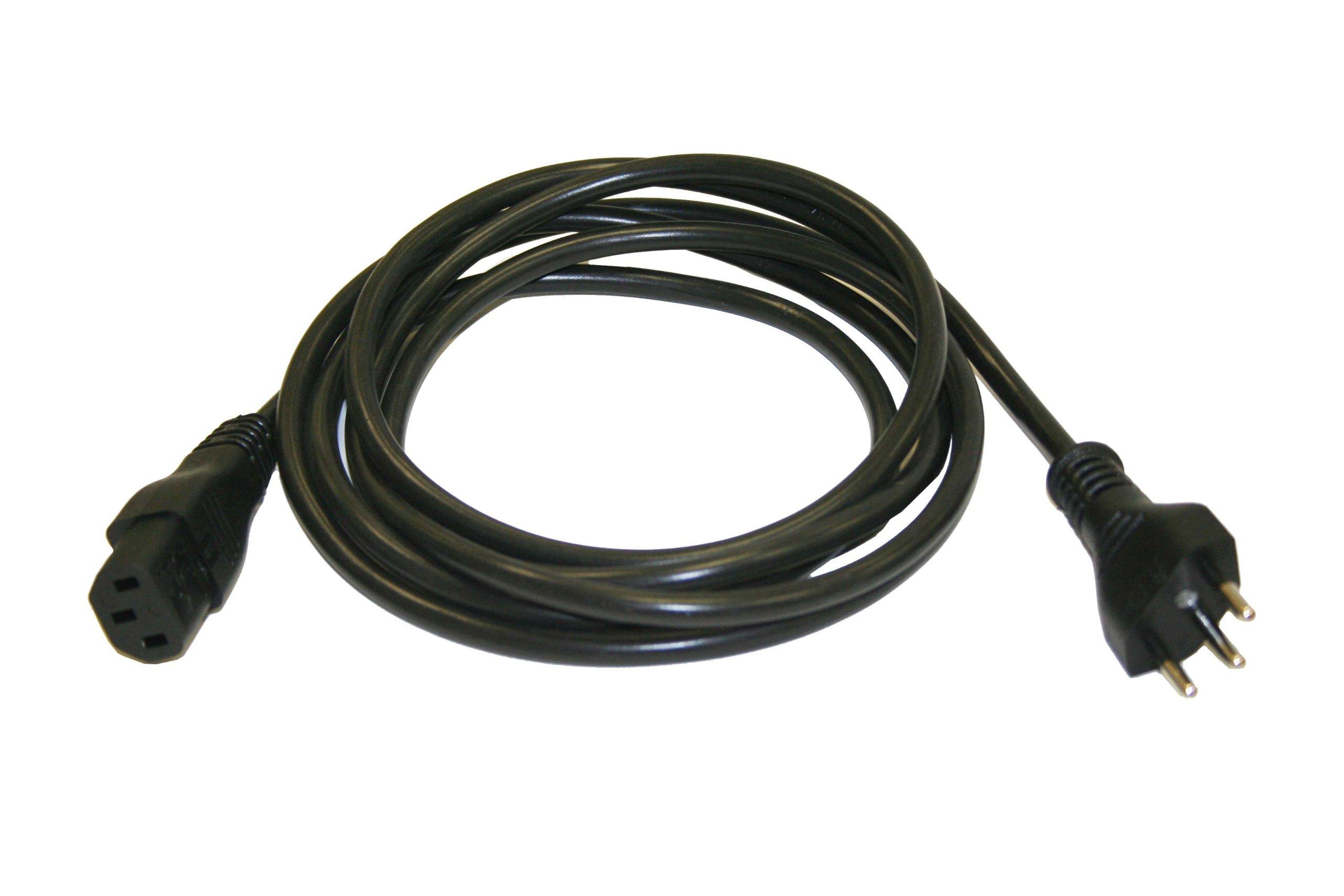 Interpower 86286110 Brazil Cord Set, NBR 14136 Plug Type, IEC 60320 C13 Connector Type, Black Plug Color, Black Cable Color, 10 Amps, 250 VAC Voltage, 2.5 m Length