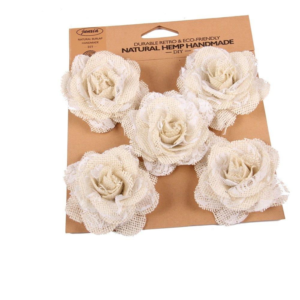 Junxia Hessian Burlap Rose Flowers for Rustic Wedding Party Decoration (5pcs)(Big)